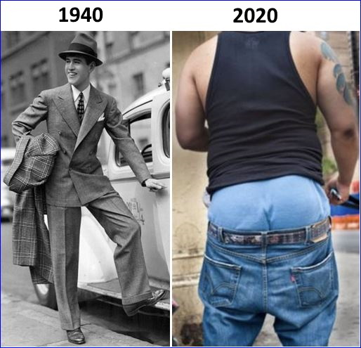 1940-2020 Mens Pants Then and Now
