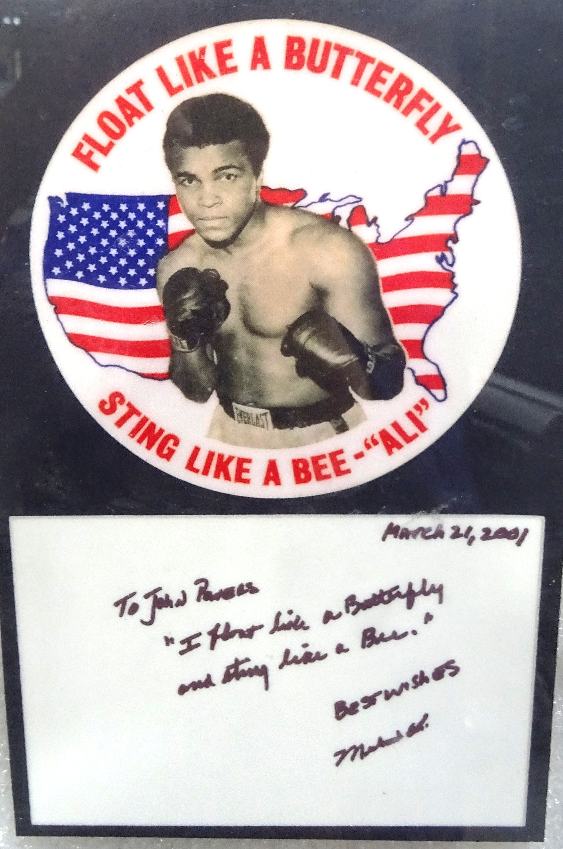 MuhammadAli Note to John Powers Butterfly Display by Orkin Canada, 15-17 April 2016