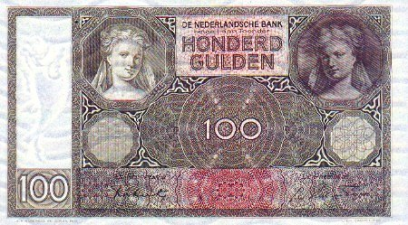 100 guilders front or obverse side bill image from http://www.banknotes.com/NL51.JPG