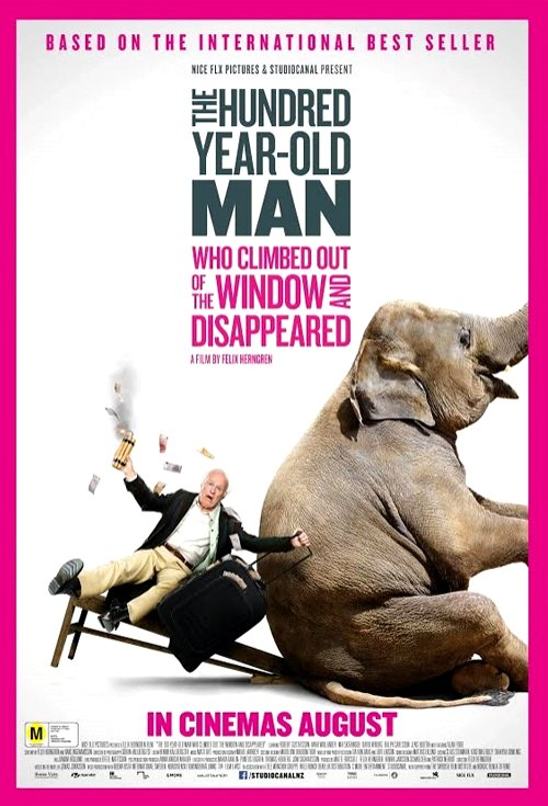 The 100 Year-Old Man Who Climbed Out the Window and Disappeared (2013) Movie Poster Google image from http://assets.flicks.co.nz/images/movies/poster/7f/7f489f642a0ddb10272b5c31057f0663_500x735.jpg