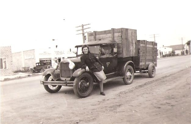 Margaret Kaas with Loaded Truck circa 1950s image from Carl Kaas Photo Gallery