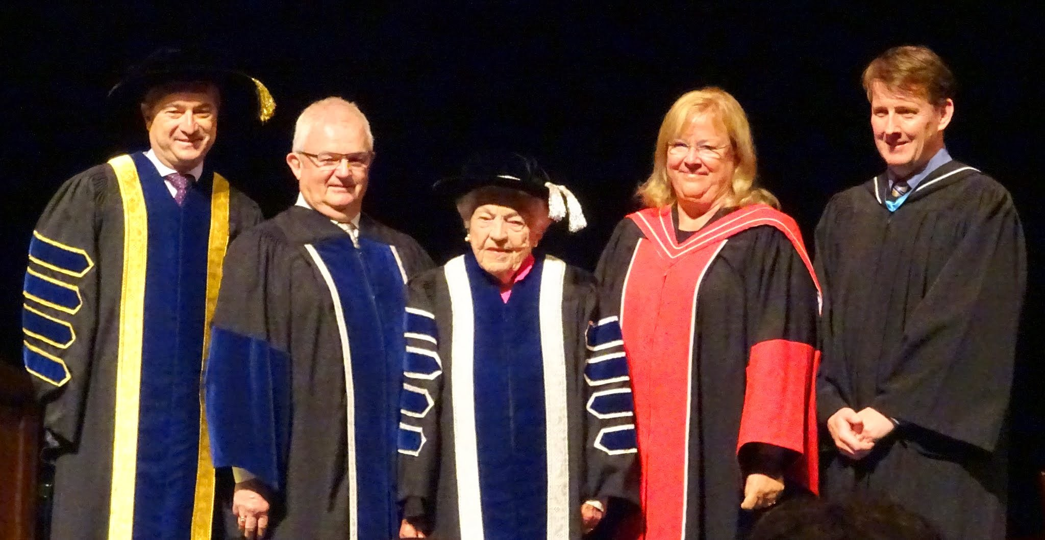 Dr. Jeff Zabudsky, Bryan Dawson, Chancellor Hazel McCallion, Dr. Mary Preece, Jamie King