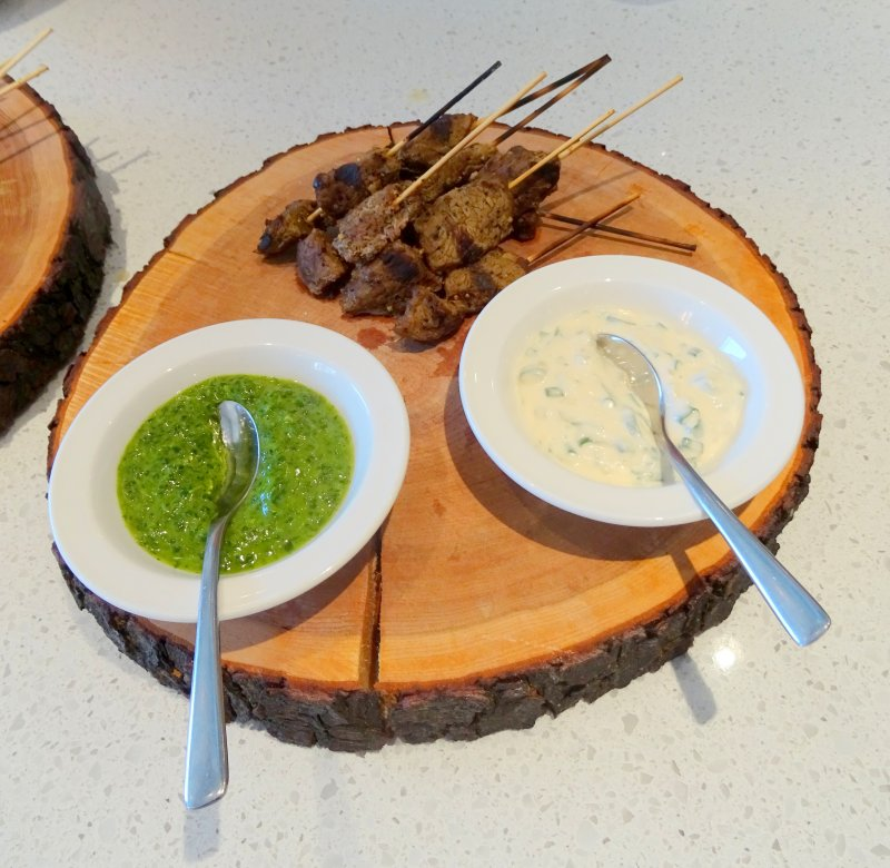 Brazilian grilled beef on skewers with dips
