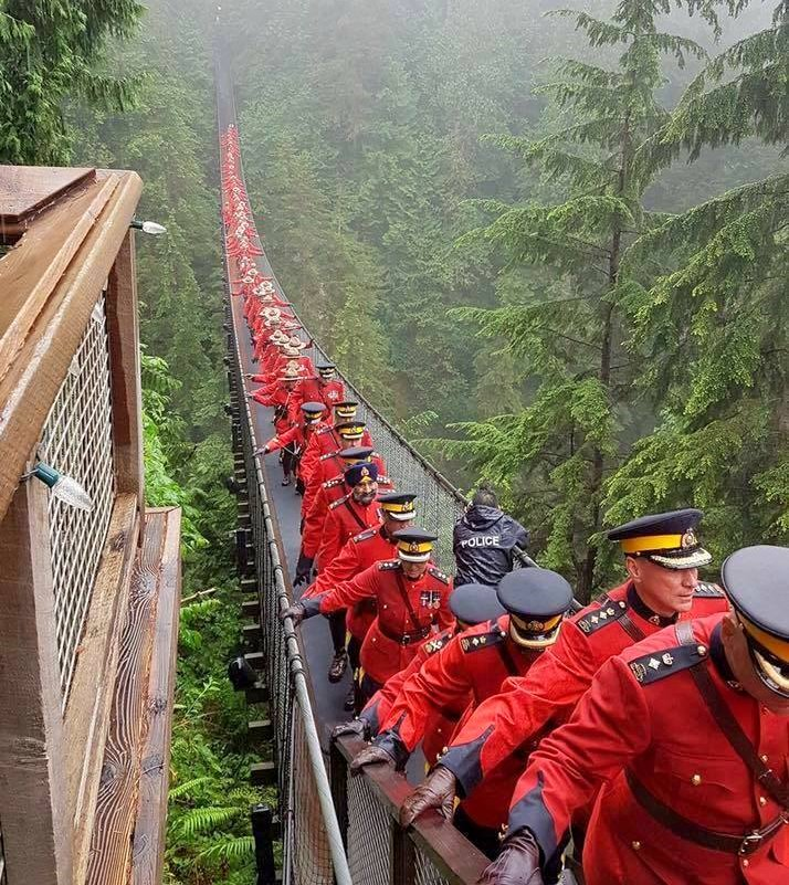 This picture was taken of 150 Royal Canadian Mounted Police officers on the Capilano Bridge, a 460 foot long suspension bridge over the Capilano River, just north of Vancouver, BC from email July2017