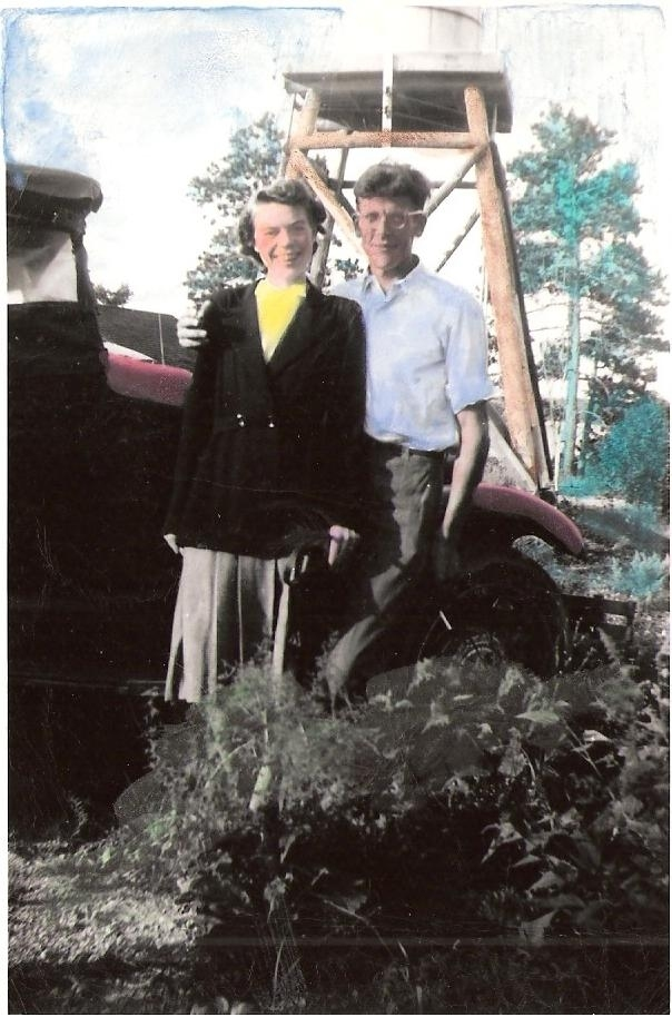 Hand-colored photo of Margaret and Carl Kaas - Date of photo unknown.