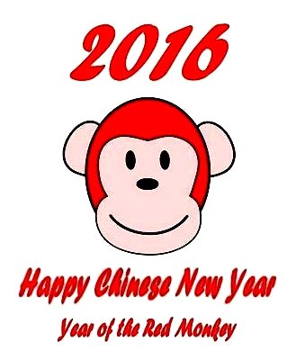 Chinese New Year 2016 Year of the Red Monkey image created by I Lee, 7Feb16