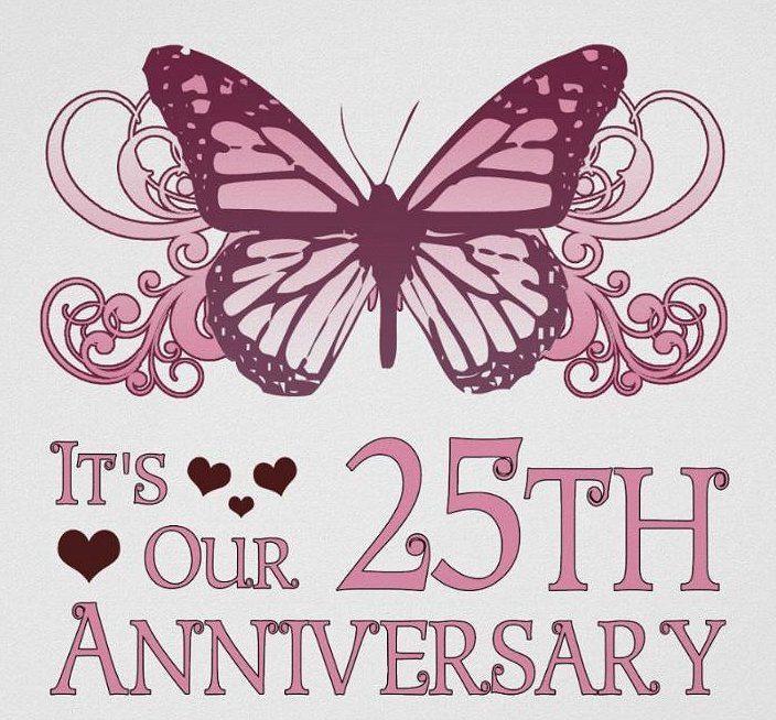 25th Wedding Anniversary Butterfly Poster Google image from  https://www.zazzle.ca/25th_wedding_aniversary_butterfly_poster-228839371107084862