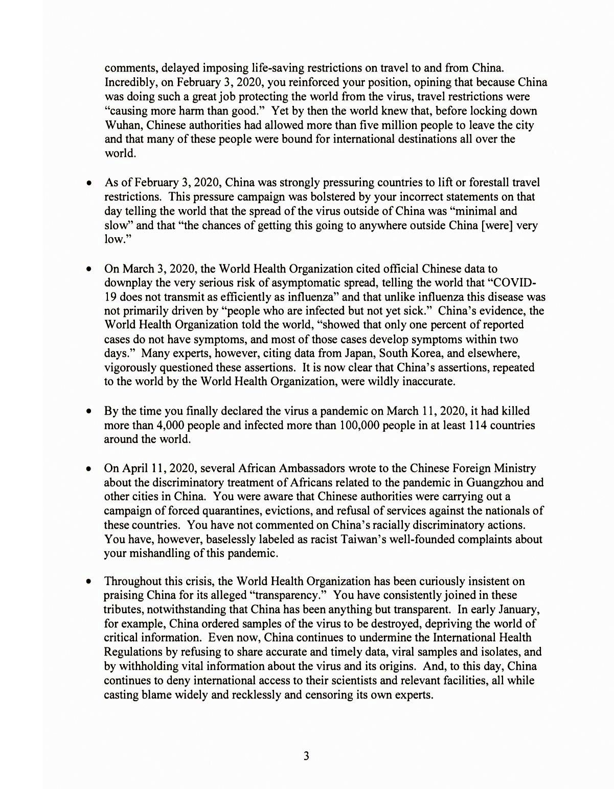 Trump's letter to WHO 18 May 2020, page 3