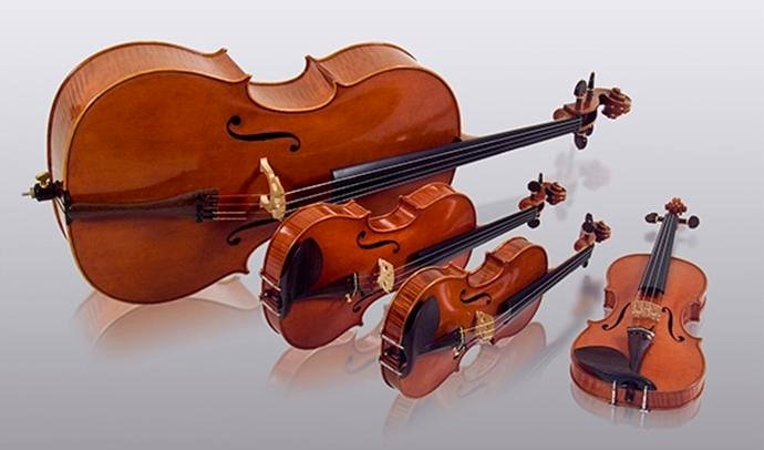 4 violins image from Port Credit Library flyer Music for a Summer Wedding by Symphonic Quartet 15May13