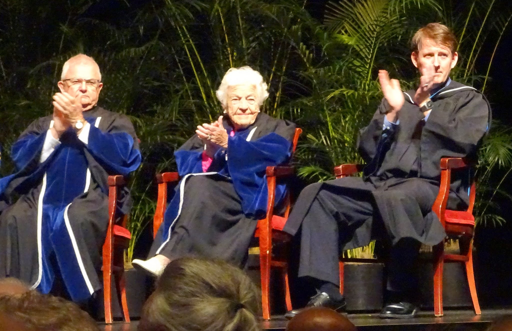 Bryan Dawson (Chair, Sheridan Board of Governors), Hazel MCCallion and Jamie King (General Manager, Sheridan Student Union)