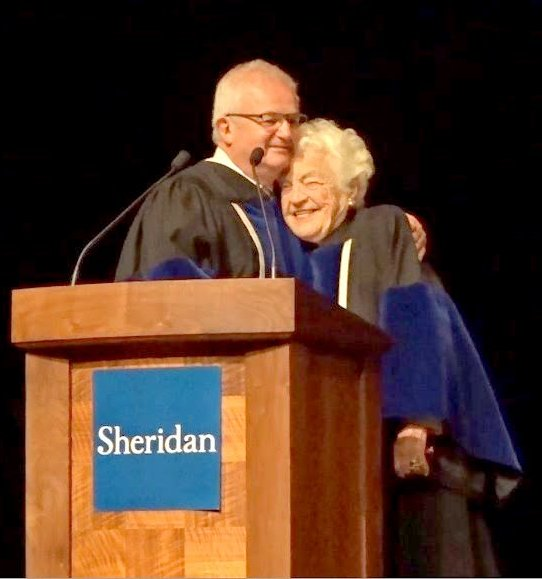 Bryan Dawson congratulates Hazel McCallion