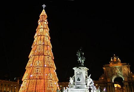 The largest Christmas tree in Europe can be found in the Pra�a do Com�rcio in Lisbon, Portugal.