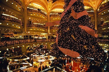 Ooh la la Galeries Lafayette! In Paris, even the Christmas trees are chic.
