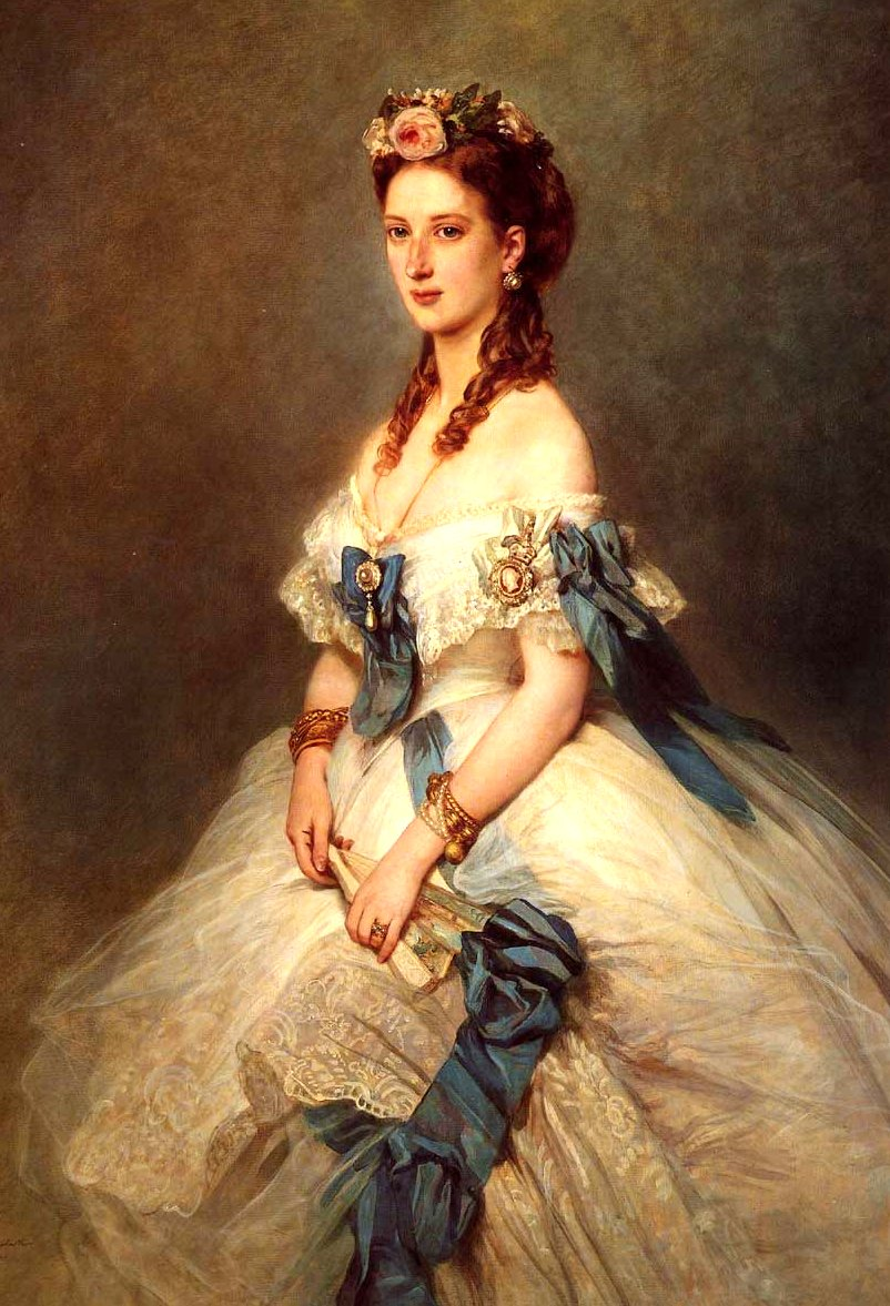 Alexandra of Denmark, Princess of Wales, 1844-1925, Queen Consort of King Edward VII of England, Artist Franz Xaver Winterhalter, Google image from https://upload.wikimedia.org/wikipedia/commons/a/a9/ALexandra_of_Denmark_Princess_of_Wales.jpg