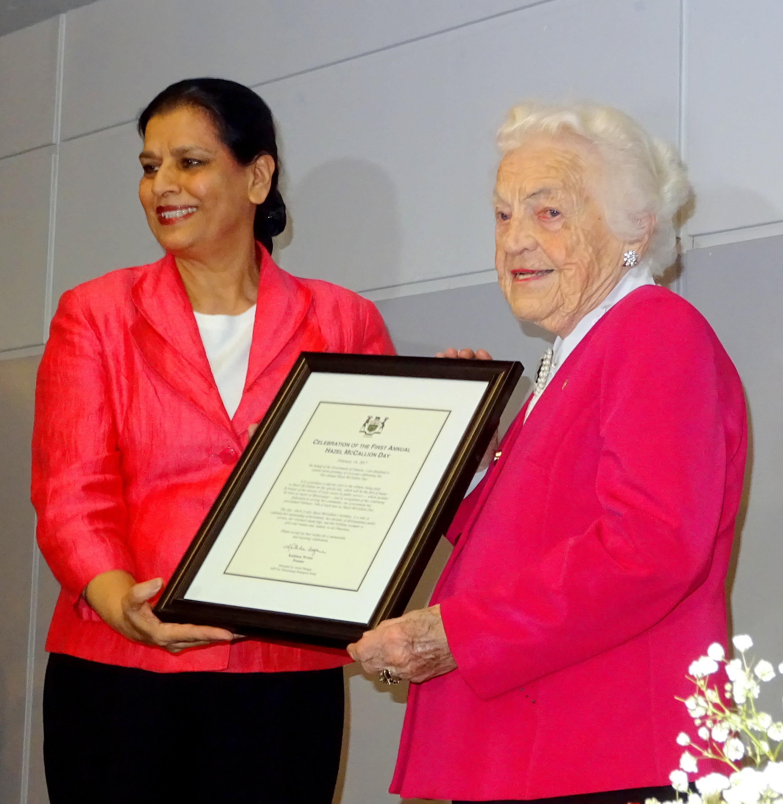 MPP Amrit Mangat and Hazel McCallion 14Feb2017 Photo by I Lee