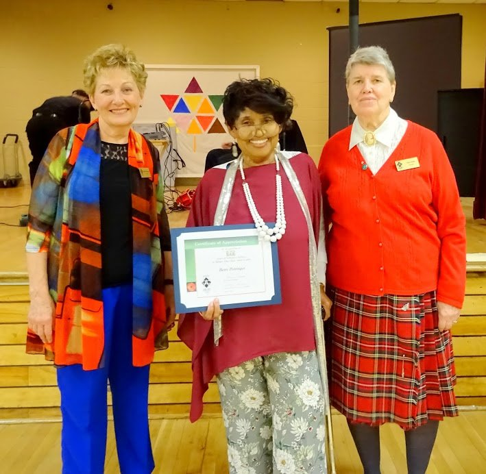 Dorothy Zadworny, Betty Pottinger (In recognition of 20 years of Volunteer Service), Alice Dods. Photo by I Lee, 25 Apr 2017