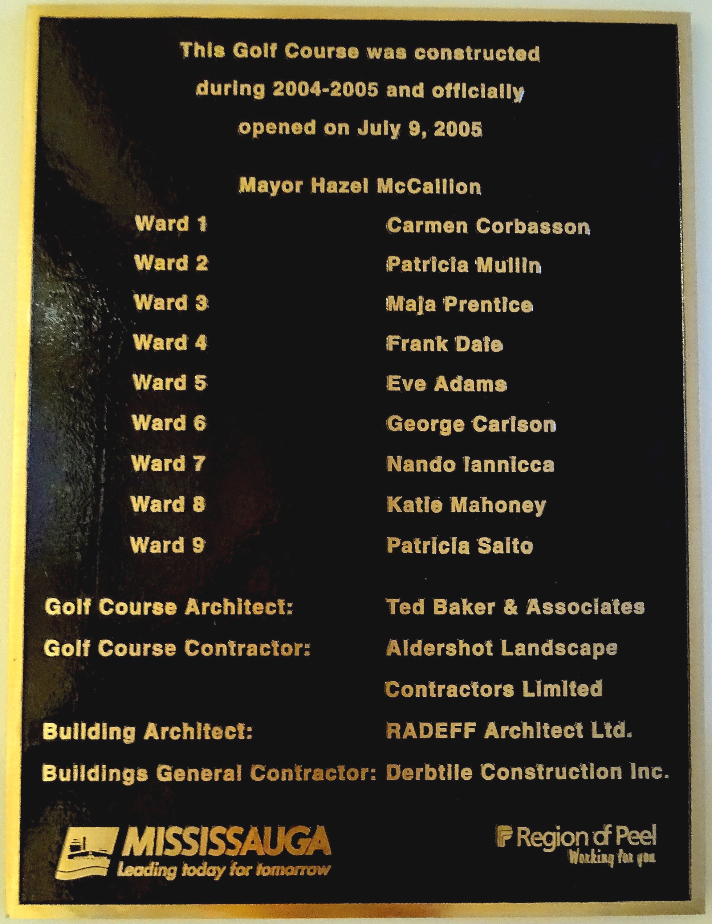 BraeBen Golf Course opened by Mayor Hazel McCallion 9 July 2005 Photo by I Lee 29 Sep 2015