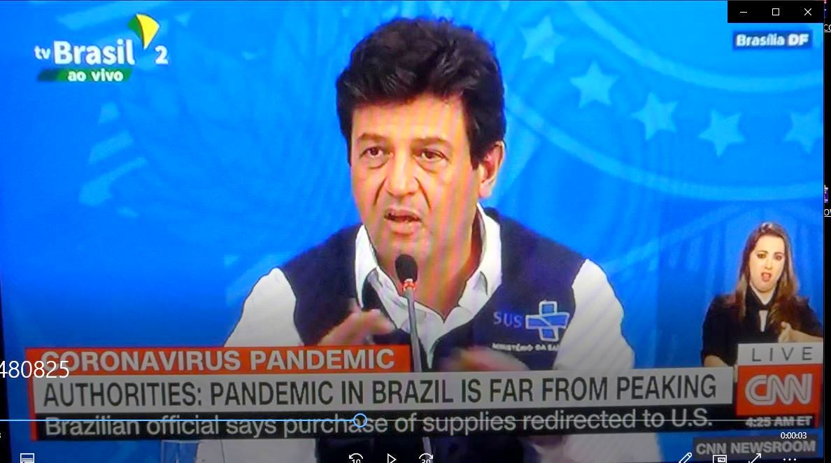 Brazilian official says purchase of supplies redirected to United States screen shot of CNN TV program on April 3, 2020