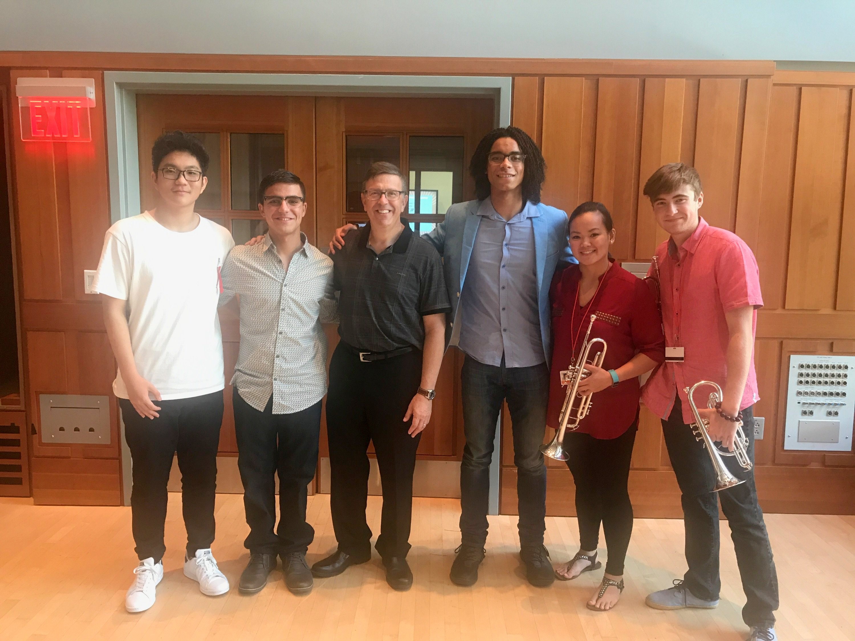 Professor David Bilger with students William Leathers and others, Curtis Summerfest, Curtis Institute of Music, 1726 Locust St. Philadelphia, PA 19103 USA - 21 July 2017