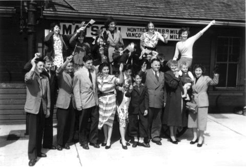 The Reach P3348  Welcome for large Dutch immigrant family at the Matsqui CN station, April 1952. Google image from http://www.abbygs.ca/images/MSAMueseum/P3348.htm