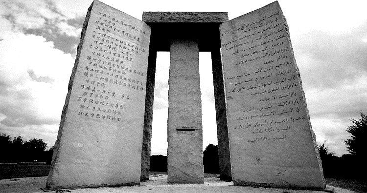 Georgia Guidestones Google image from https://unbelievable-facts.com/2019/12/georgia-guidestones-2.html