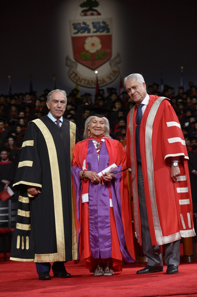 Chancellor Greg Sobara, Jeanette Corbiere Lavell and President and Vice-Chancellor Mamdouh Shoukri Google image from York Univeristy Alumni http://alumniandfriends.yorku.ca/2016/06/22/jeanette-corbiere-lavell-offers-graduates-gift-from-indigenous-ancestors/