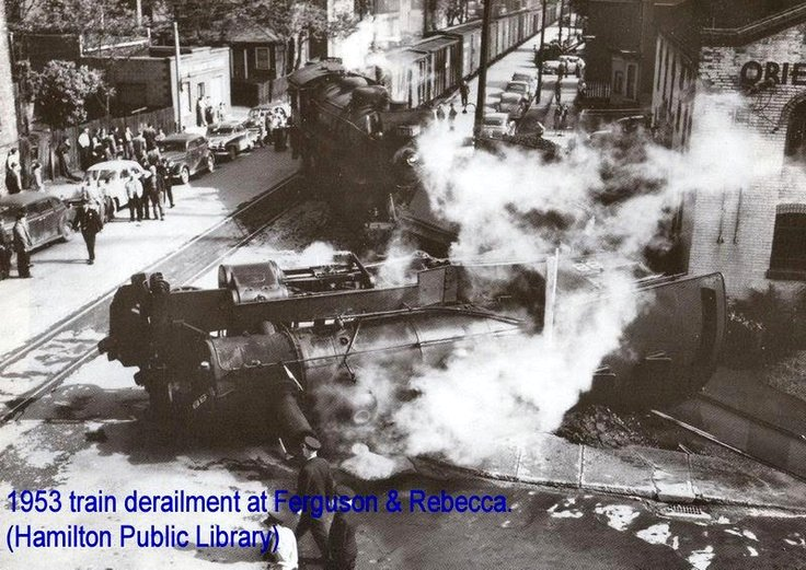 Hamilton 1953 train derailment at Ferguson and Rebecca Google image from http://media-cache-ak0.pinimg.com/736x/05/be/8c/05be8c124785b6a97f6a6471c1a9a989.jpg