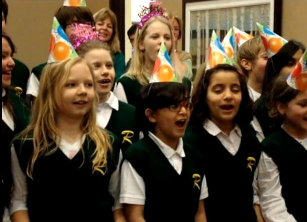 Children from Riverside Public School Choir sing 'Happy Birthday Dear Mayor' on her 91st birthday on Valentine's Day, February 14, 2012 at Port Credit Residences, Retirement Living by the Lake, in Mississauga ON Canada. Video by I Lee