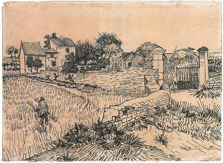 Drawing, Pencil, reed pen, brown ink, Arles: 15-Jun, 1888, Rijksmuseum, Amsterdam The Netherlands, Europe, Van Gogh: Entrance Gate to a Farm with Haystacks Google image from http://www.vangoghgallery.com/catalog/Drawing/904/Entrance-Gate-to-a-Farm-with-Haystacks.html