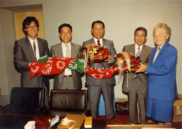 Officials from Kariya, Japan visit with Hazel, to present gift in celebration of the new municipal offices. The two cities have been 'sistered' since 1981 Google image from https://www.insauga.com/sites/default/files/article/pn2013_01134_0.jpg