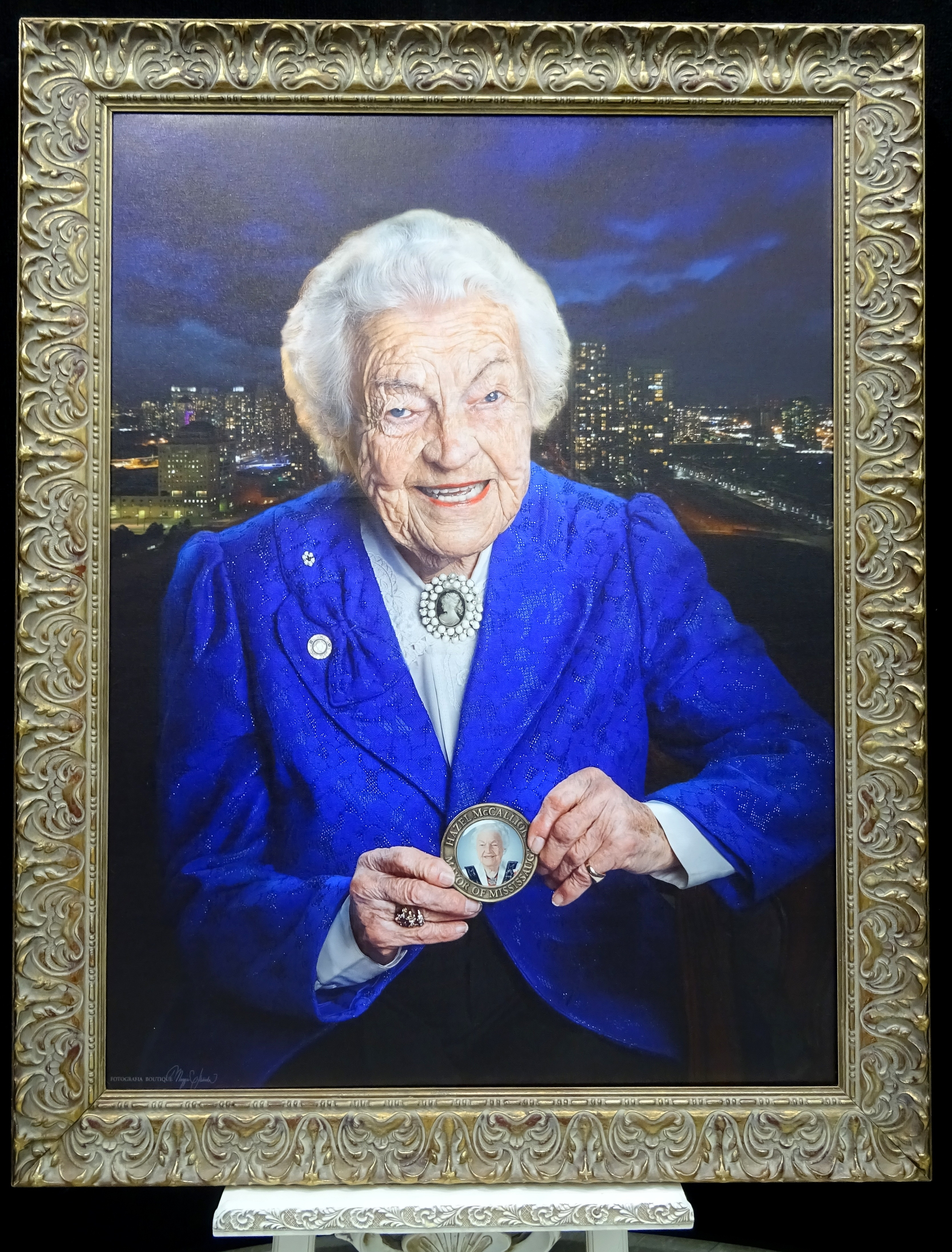 Portrait of Hazel McCallion in Blue by Maggie Habieda of Fotografia Boutique, on display at Hazel McCallion Hall, Vic Johnston C.C. 14 Feb. 2017