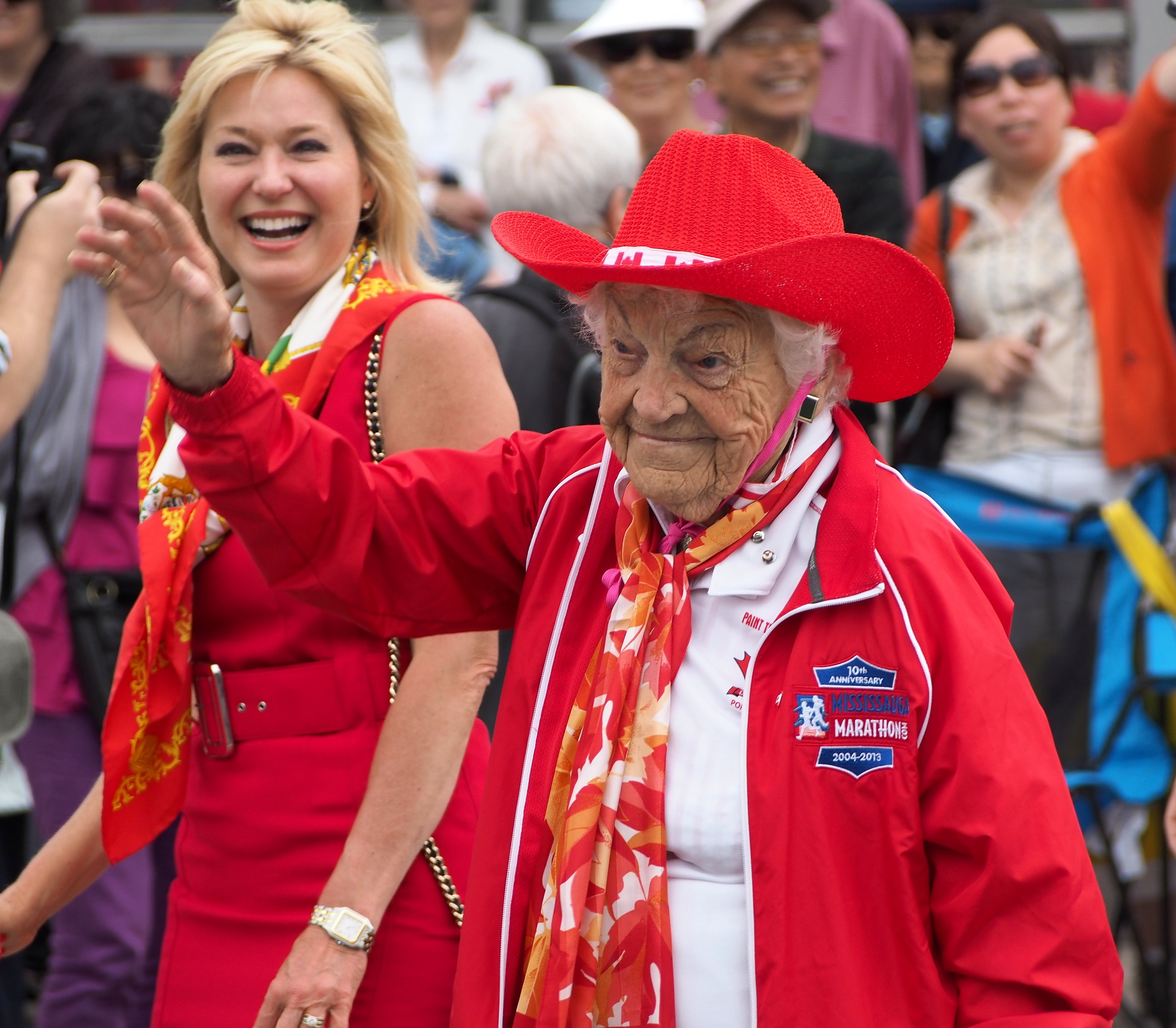 Mayor Bonnie Crombie with Former Mayor Hazel McCallion at Canada Day Celebration, July 1, 2016, Port Credit