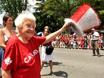 Hazel McCallion walking in Canada Day Parade in Port Credit, July 1, 2013