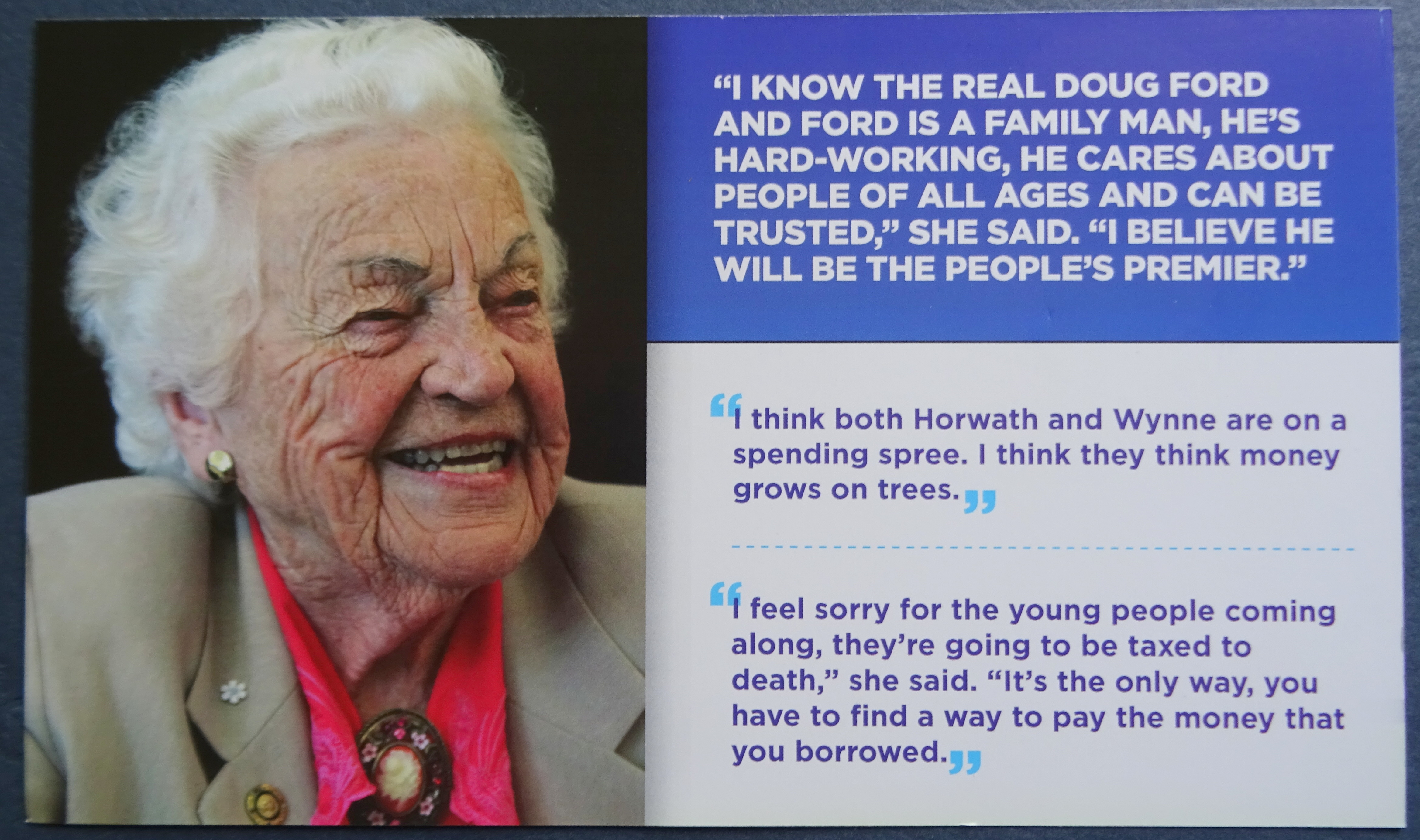 Hazel McCallion endorses Doug Ford, PC ad card delivered to door by PC party helper for Natalia Kusendova, PC Candidate for Mississauga Central