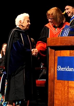 Hazel McCallion receives Honorary Degree from Sheridan Collage June 2015 Google image from  img from http://media.zuza.com/2/c/2c41f8f6-6512-4ce4-bac6-455881ce46b5/n-r-Sheridan_Convocation-Hazel4___Gallery.jpg