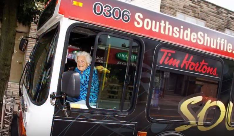 Mayor Hazel McCallion driving Tim Hortons Southside Shuffle Bus 6 Sept. 2014 Google image from