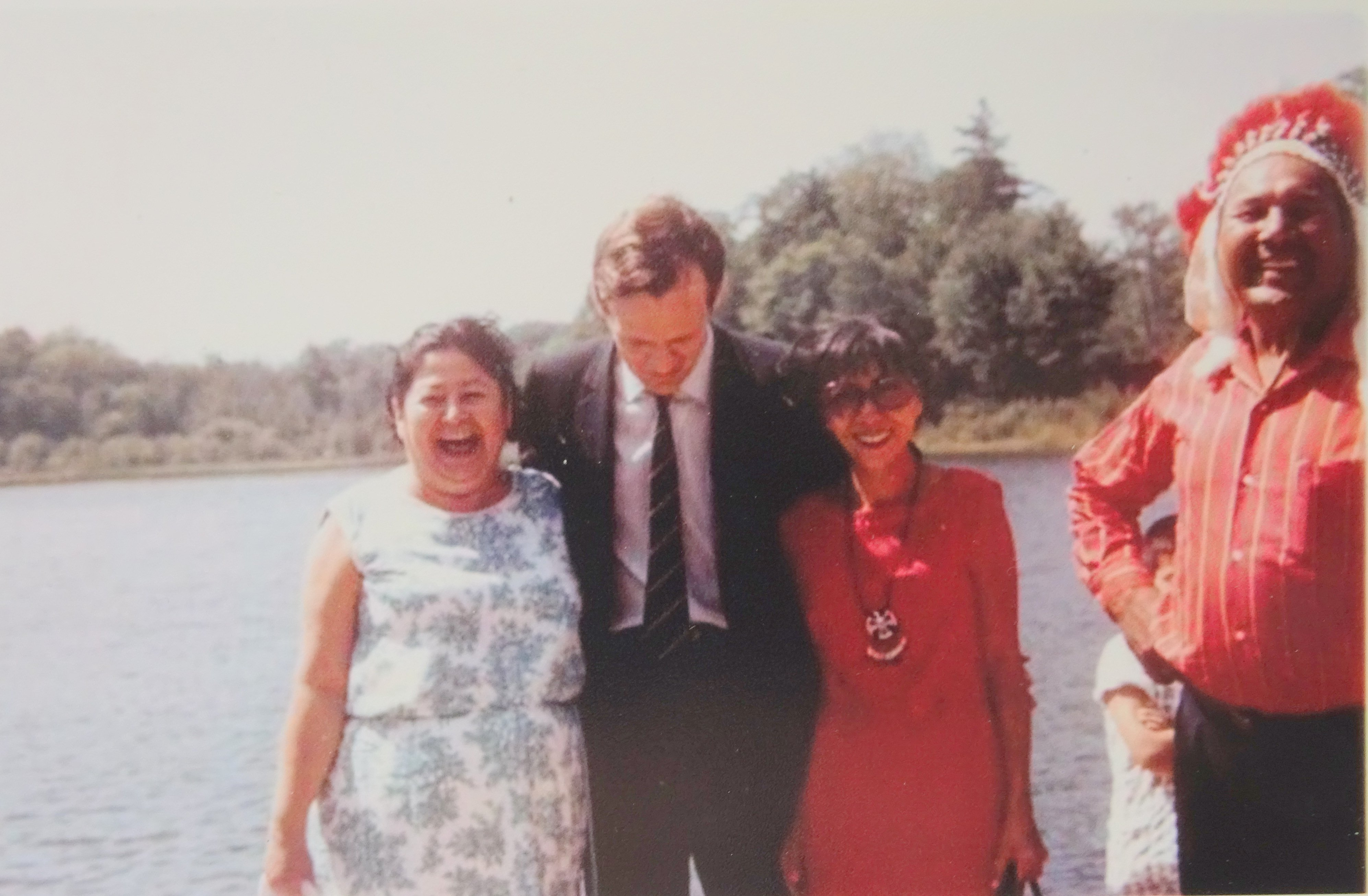 Hettie Sylvester, Jean Chretien (Minister of Indian Affairs and Northern Development), Irene and Chief of Christian Island, circa 1969. Photo taken by Mildred Redmond