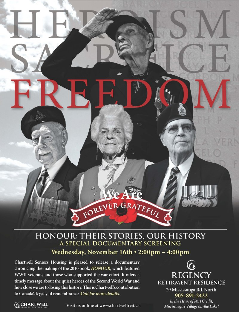HONOUR: Their Stories, Our History Poster provided by Regency Retirement Residence 10 Nov. 2011