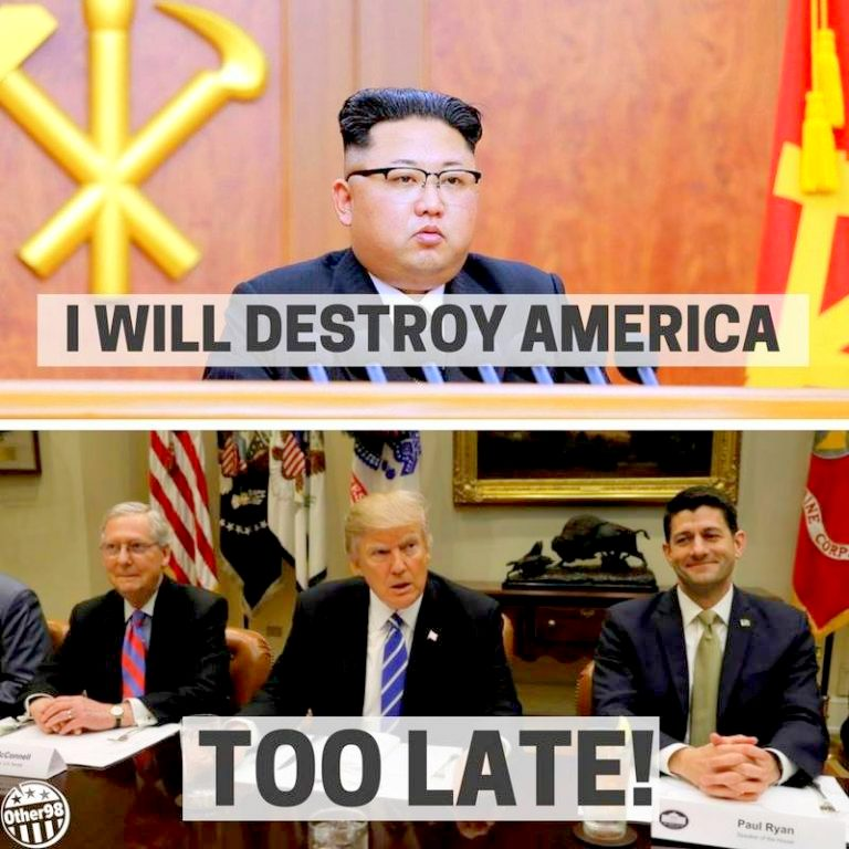 Kim Jong Un: I will destroy America. Too late. Google image from https://www.pinterest.ca/pin/476537204315175842/