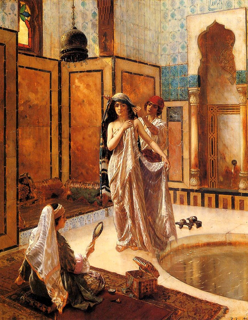 A Dream Before Leaving to India by Zireaux - The Harem Bath by Ernst Rudolph Google image from http://zireaux.com/immortalmuse/wp-content/uploads/2010/12/ernst-rudolph-the-harem-bath.jpg