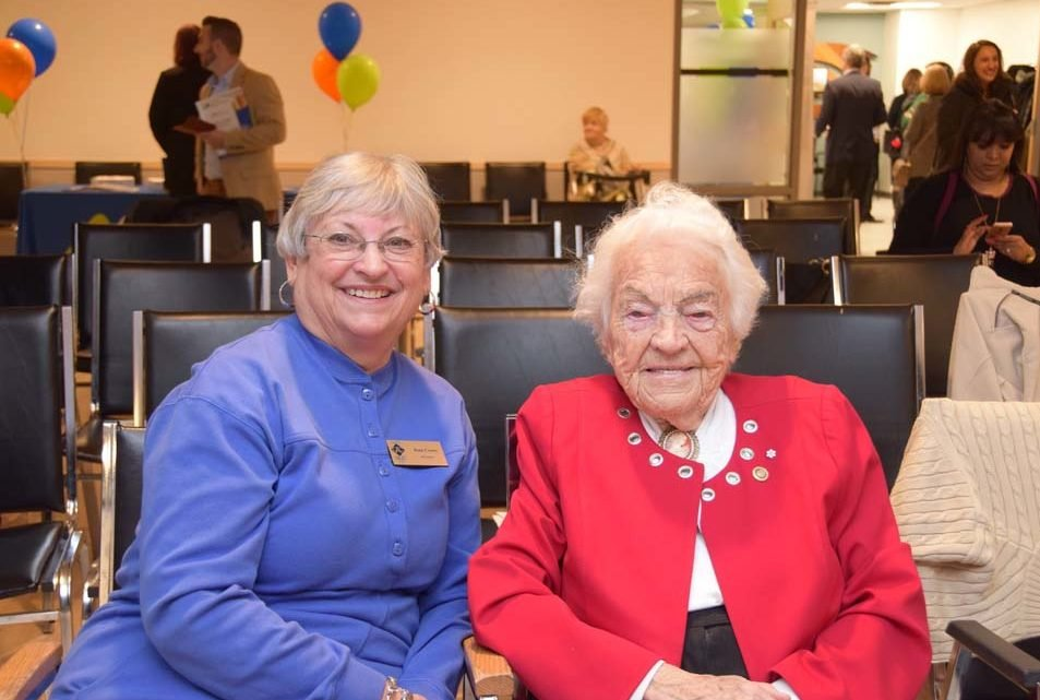 Joan Crews and Hazel McCallion, 15 Jan. 2018 image from http://www.communitycaptured.ca/grand-opening-active-adult-centre-mississauga/ Joan-Crews-Hazel-McCallion-1000x641