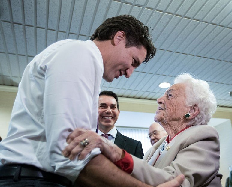 Justin Trudeau and Hazel McCallion 16 Oct 2015 Google image from http://mainstreamcanadian.com/wp-content/uploads/2015/10/Jt-Hazel.jpg.