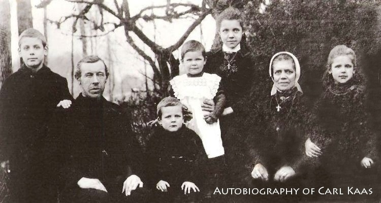 Autobiography of Carl Kaas - Family Photo circa 1923 - Left to right: Jan/John (1915-1997), Dad Wilhelmus Kaas (1865-1946), Cornelis/Carl (1919-   ), Dientje/Diane (1921-2009), Annie (1912-1991), Mom Helena van de Boom (1879-1960), Doortje/Dorothy (1917-2014)