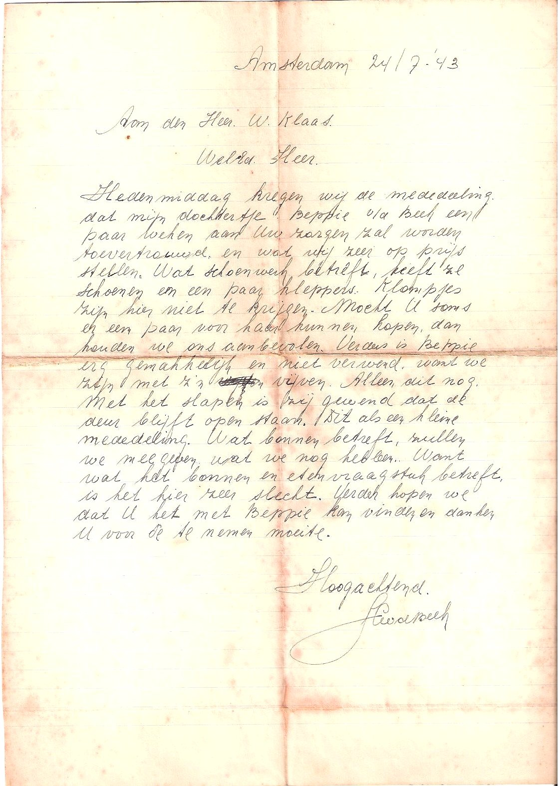 Letter from Beppie Van de Beek's Parent July 24, 1943