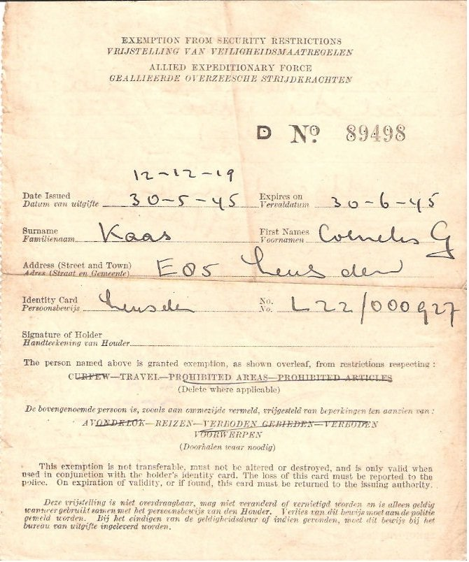 Carl Kaas Exemption 30 May 1945