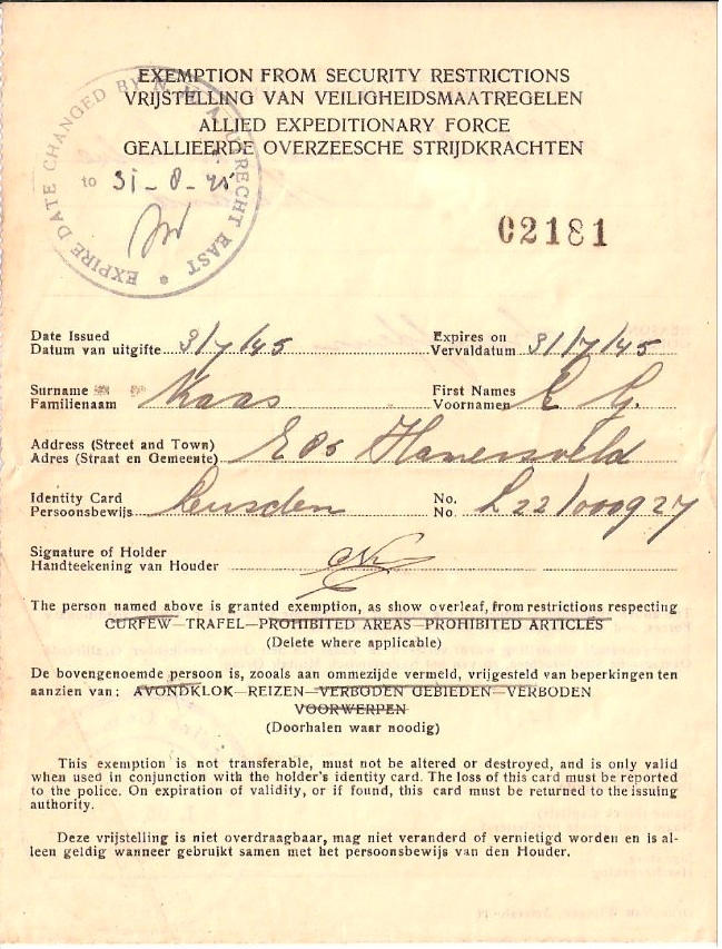 Carl Kaas Exemption Security Restrictions 3 July 1945