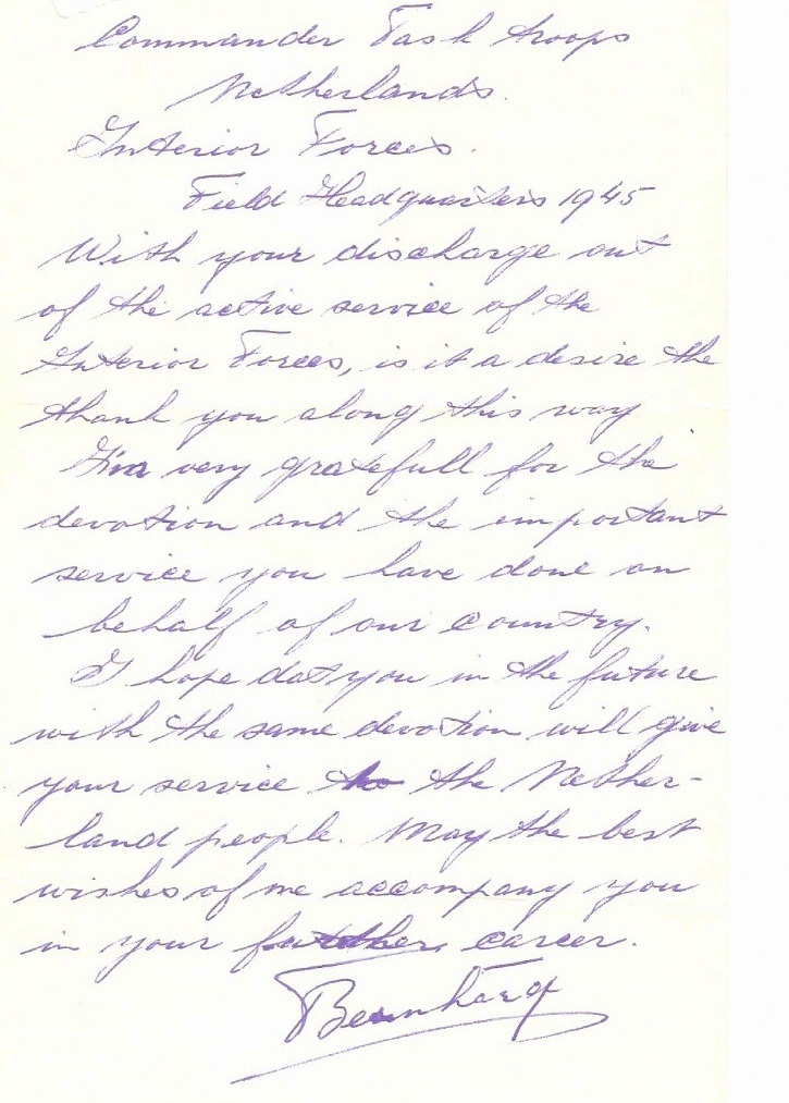 Thank You Letter from Field Headquarters 1945