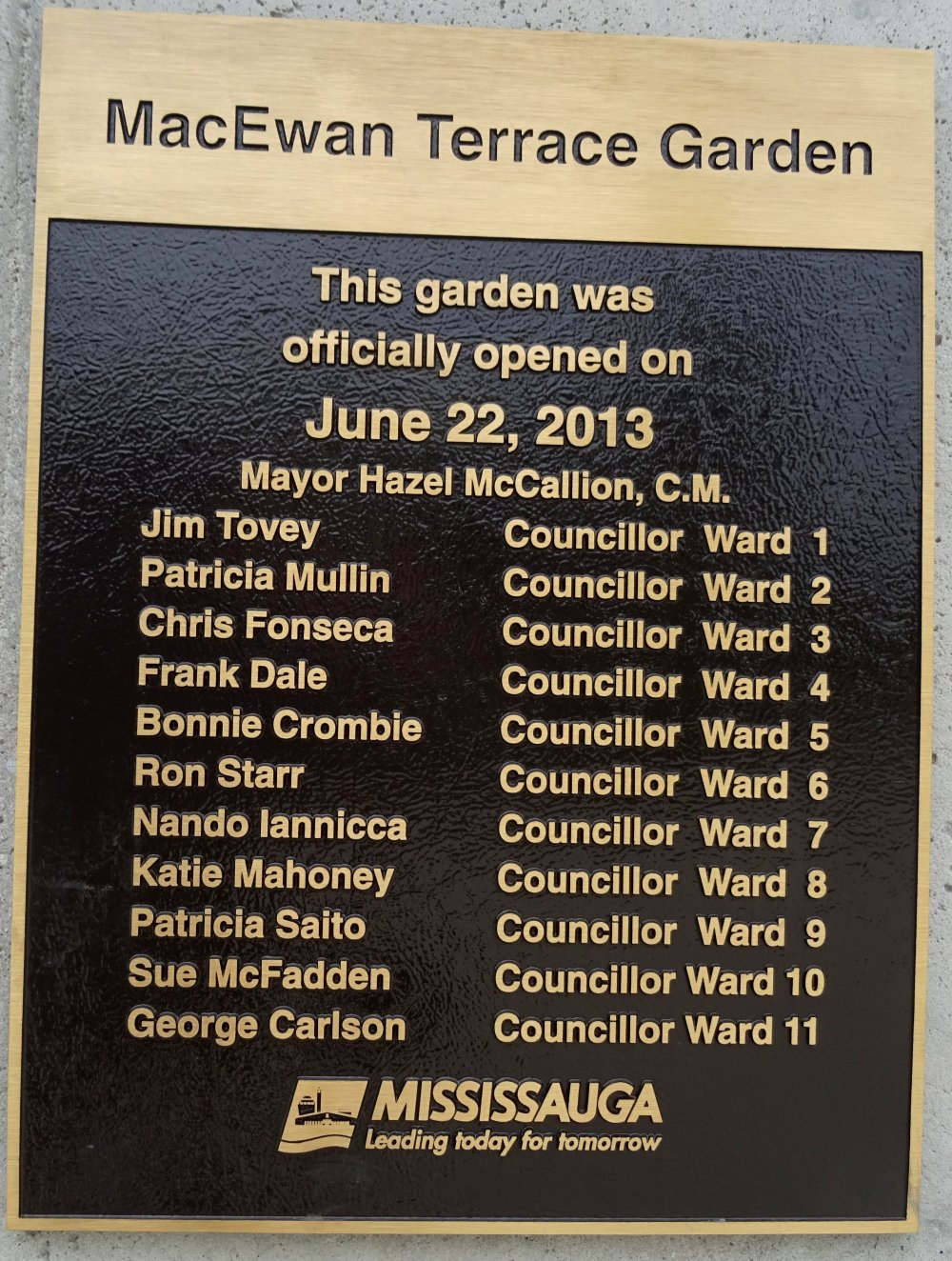 MacEwan Terrace Garden opened by Mayor Hazel McCallion 22 June 2013 photo by I Lee 26 Aug 2015