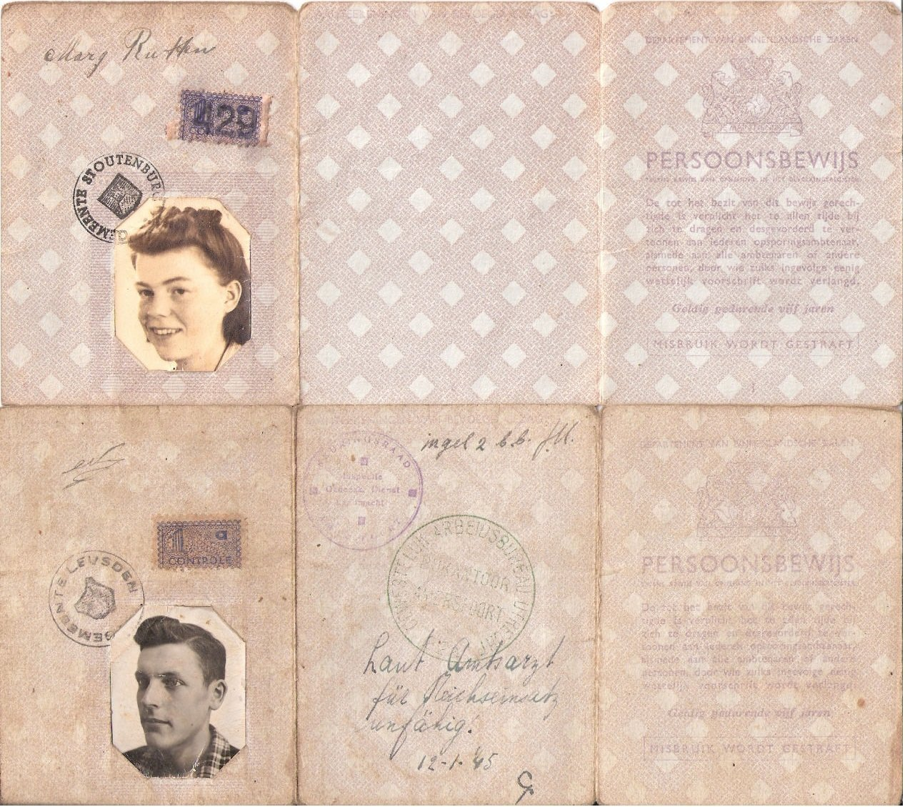 Documents showing photos of Margaret and Carl Kaas in 1945
