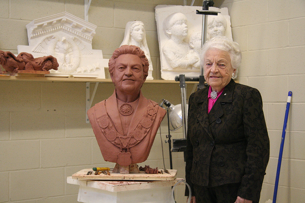 Mayor Hazel McCallion Bust with Mayor Hazel McCallion image from http://www.traditionalcutstone.com/projects/mayor-hazel-mccallion-bust/#6300-mayor-hazel/6298